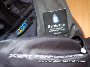 Labels on a selection of waterproof and breathable outdoor clothes.
