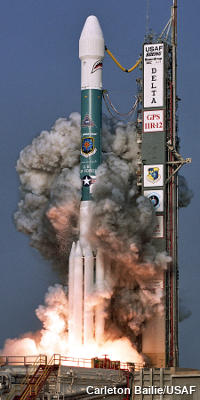 The launch of GPS satellite IIR-12, from a Delta rocket, in June 2004.