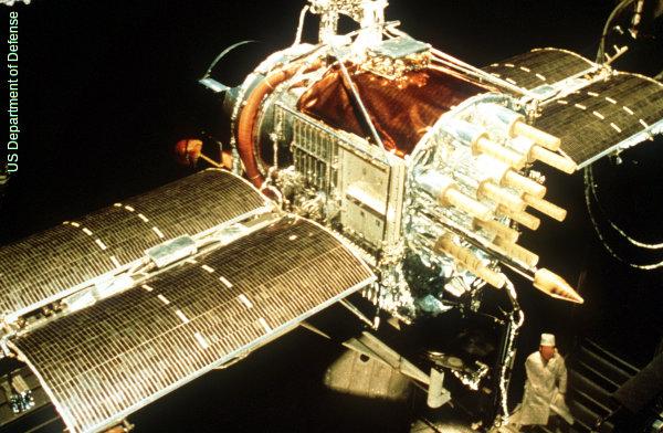 NAVSTAR GPS satellite under construction on Earth