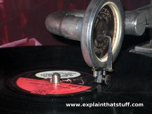 An old-fashioned gramophone record player