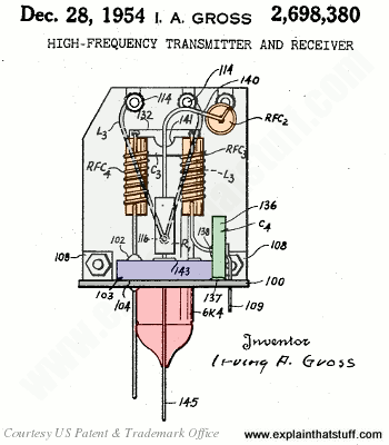 Illustration from Irving Alfred Gross's walkie-talkie patent US 2,698,380.