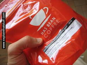 A bag of single-estate roast and ground coffee from Has Bean Coffee.
