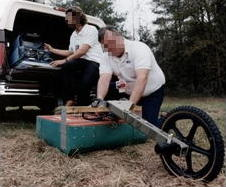 Ground-penetrating radar being used by scientists