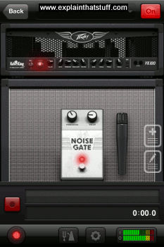 Guitar amplifier app by AmpKit, simulating a Peavey ValveKing on an iPod Touch.