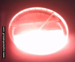 Infrared element glowing red on a halogen ceramic cooktop