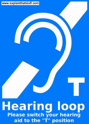 Sign showing that induction loop hearing-aid assistance is available.