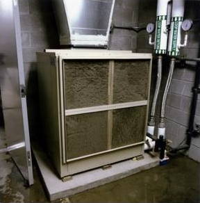 A heat pump inside a building