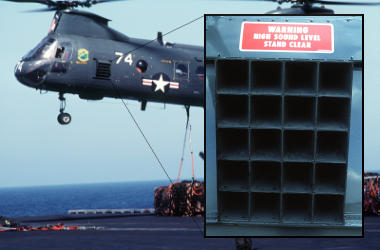 Sea Knight HH-46D showing the built-in 1400-watt loud-hailer loudspeaker on the side.