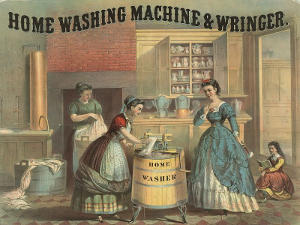 Early advertisement for a mechanical home washing machine and wringer from 1869.