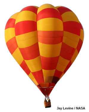 A red and orange hot air balloon on a white background.