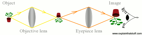 The basic optics of binoculars, showing the object, the image, the objective lens, and the eyepiece lens.