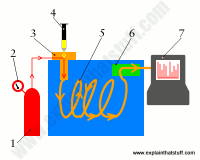 Simple artwork showing the main components of a gas chromatography machine