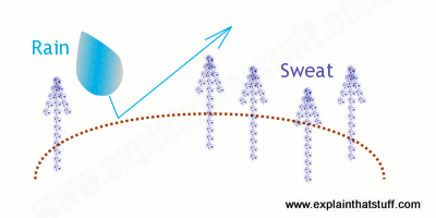 Diagram explaining how GORE-TEX is both waterproof and breathable at the same time
