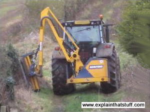 Hydraulic hedge cutter on the back of a tractor