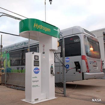 Hydrogen filling station with a fuel cell bus pulled up alongside