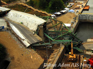 Scene of the I-35 bridge collapse over the Mississippi river in 2007.