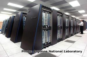 Photo of IBM Blue Gene supercomputer at Argonne National Laboratory.