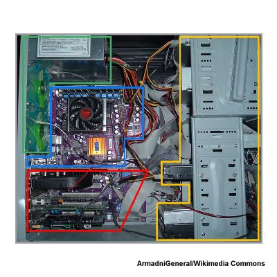 Photo of the components inside a PC case by ArmadniGeneral/Wikimedia Commons
