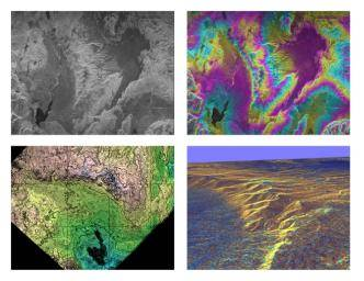 Satellite maps of Earth's surface made by radar interferometers