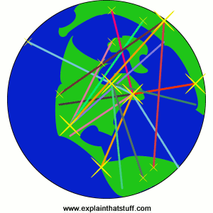 Conceptual artwork showing Internet connections stretching across Earth.