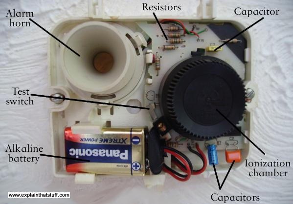 Ionization smoke detector with the cover removed, showing the main component parts