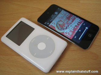 An Apple iPod (4th generation) next to an iPod Touch.