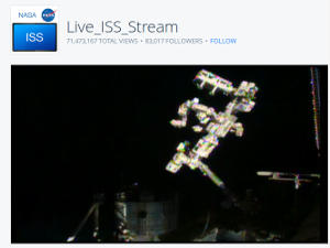 A live webcam feed showing the International Space Station.