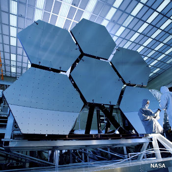 James Webb telescope. Six blue mirror segments.