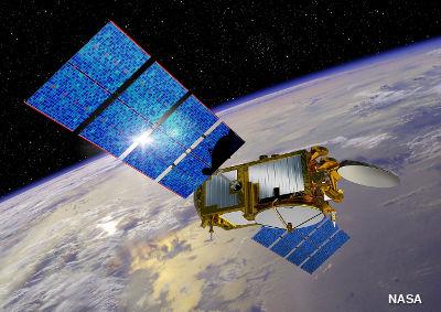 Jason-3 satellite over Earth. Artist's impression.
