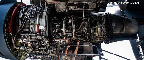 Pratt Whitney F117 PW-100 jet engine from a US Air Force C-17 Globemaster plane, undergoing maintenance
