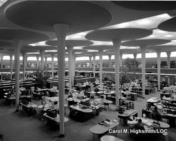 Reinforced concrete lily pad columns in the Johnson Wax headquarters at Racine by Frank Lloyd Wright.