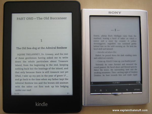 Amazon Kindle Paperwhite electronic book (ebook) reader side by side with Sony Reader