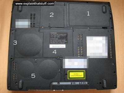 The service flaps on the bottom of a typical laptop