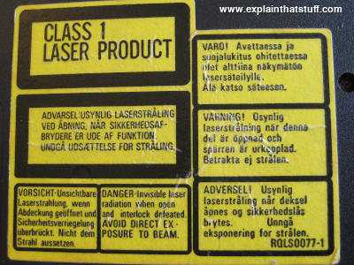 Class 1 laser product yellow on black warning label