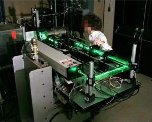 A laser interferometer anemometer with green laser beams used by NASA.