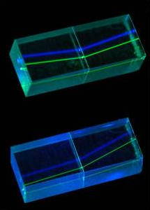 Refraction of laser beams inside perspex blocks