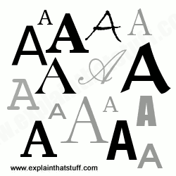 Examples of the capital letter A printed in various different sizes and fonts.