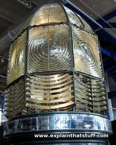 Closeup of a dummy lighthouse lamp showing the Fresnel lens and prisms.