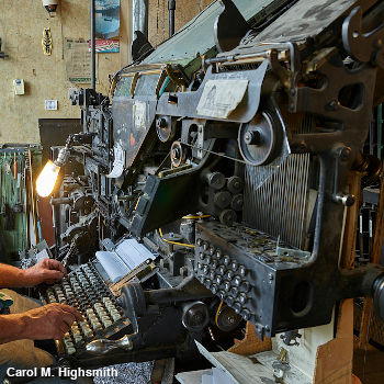A vintage Linotype machine viewed from the site. Photo by Carol M Highsmith.