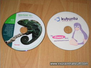 CDs of various Linux distributions.