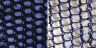 Left: Liquid crystals blocking light from passing through them and appearing opaque. Right: Liquid crystals allowing light to pass through them and appearing transparent. Both photos courtesy of David Weitz and NASA Marshall Space Flight Center (NASA-MSFC).
