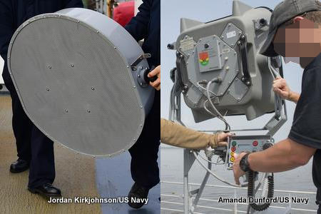 Front and back views of LRAD sound system being used on US Navy ships.