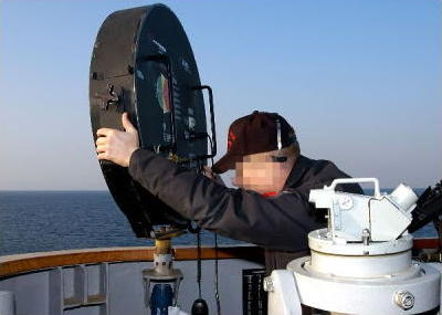 Photo of LRAD® system being used on a US Navy ship.