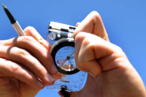 Using a magnetic compass.