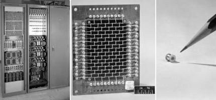 Left: A large magnetic core memory unit from 1954. Middle: A magnetic core memory circuit from the unit. Right: An individual ferrite magnetic memory core from the circuit
