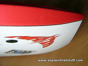 Closeup of the front of a Manta Elite bodyboard showing the curved nose.