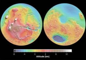 Topographical maps of Mars made by the Mars Orbiter Laser Altimeter (MOLA) in 2001.