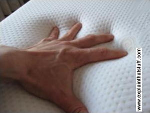 A hand pushing down into a viscoelastic memory foam mattress
