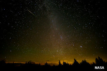 Meteor shower in the night sky.