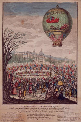 An early balloon flight by the Montgolfier brothers in 1784.